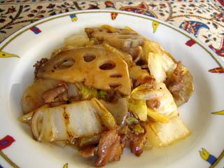 レンコンと白菜の中華(?)炒め