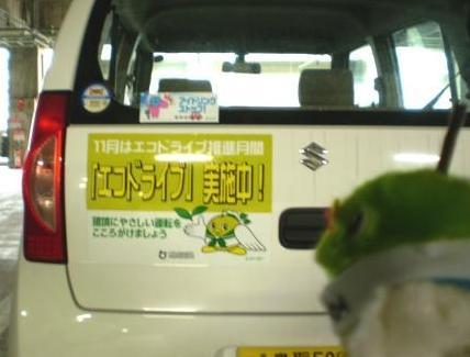 エコドライブのステッカーが貼ってあるよ。