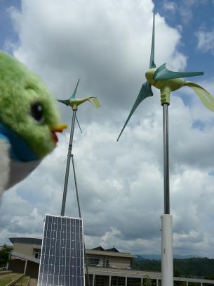 風力と太陽光を使った発電施設だよ!