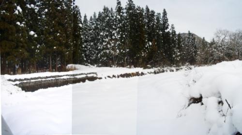 新潟 雪景色 水無し川
