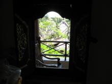室内から窓の外を見る