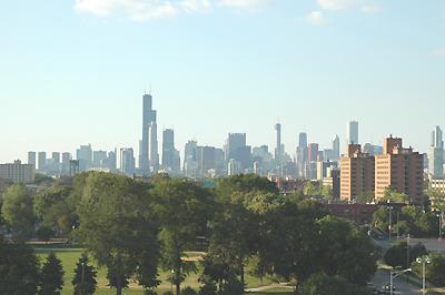 セルラーフィールドからシカゴの中心を写す