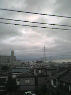 台風後の街