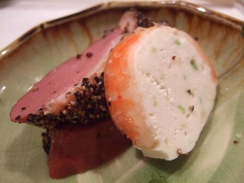 とんかつ北品川 - 鴨ロース薫製と海老のテリーヌ02