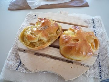 スイートポテトパン、りんごとクリームチーズパン