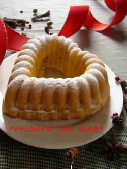 ルバーブジャムのケーキ