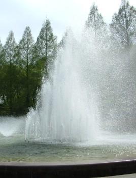 噴水は風向きによってびしょぬれになるかも