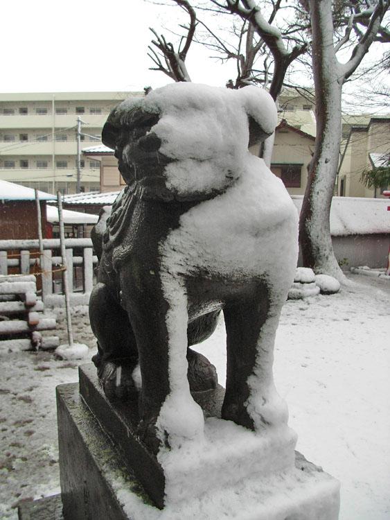 080203雪と狛犬@八幡神社1