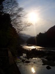 多摩川にて