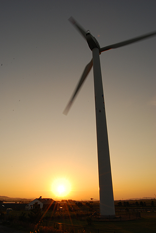 夕日を浴びた風車