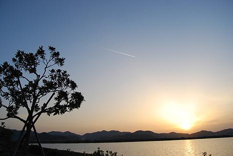 夕日に向かう飛翔体
