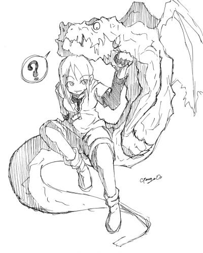 龍を描こうとしたら変な生き物になったorz