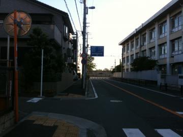 稲田中学校北側