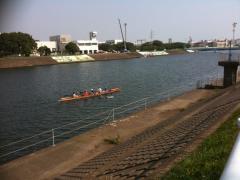 鶴見川でカヌー