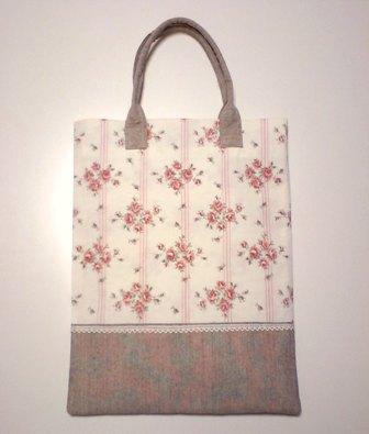 薔薇とストライププリントのぺたんこバッグ