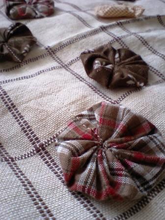 ミシンでヨーヨー縫いつけ