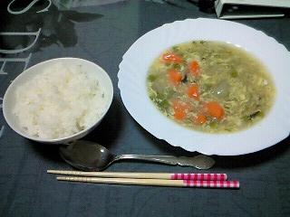 ひとめぼれ&野菜スープ