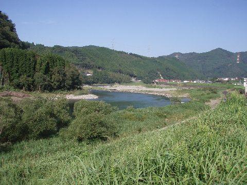 ランドアース裏から見た球磨川…