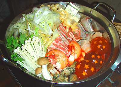 ドラゴンボール入りの鍋料理