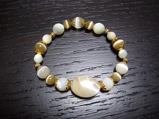 数珠ブレスマザーオブパール・キャッツアイ