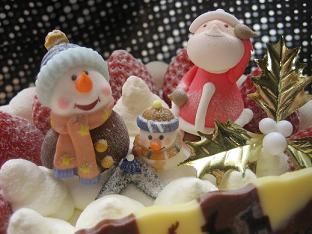 サンタさんとゆきだるま、クリスマスっぽい♪
