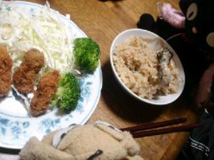 牡蠣ご飯と牡蠣フライにゃ~☆.:゚☆.:゚☆.:゚