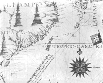 一五六八年Fernao Vaz Dourado所繪的東亞地圖,在北回歸線上有三個島,即指台灣