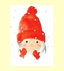 赤い毛糸帽の女の子