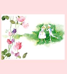 スイートピーの花とふたり