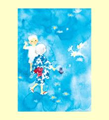 夏の宵の白い花と子ども