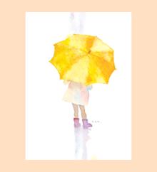 黄色い傘の少女