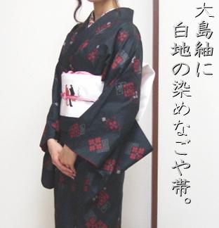大島紬と白地のなごや帯