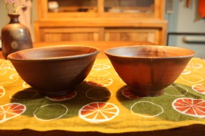 備前焼のお茶碗2つ