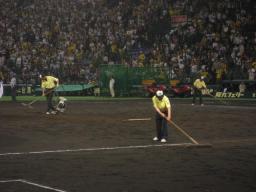 試合後の明日に備える阪神園芸