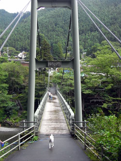 Pから遊歩道への吊り橋