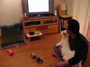 2人で仲良くテレビ見る