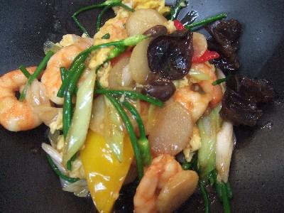 海老と花韮、玉子の炒め