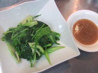 朝採り自家菜園野菜の炒め 海老味噌ソース
