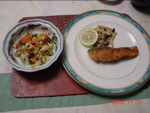炒り豆腐とサケのムニエル