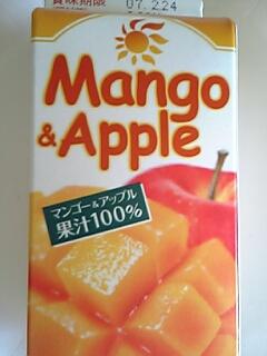 マンゴー&アップル果汁100%(グリコ 105円 1本(320ml)当たり157Kcal)