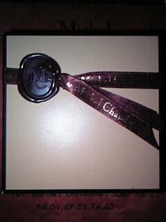 『ミッシェル・ショーダン Michel Chaudan』(パリ)の「トリュフ バニラ味&コニャック味」(4個入 税込840円)のパッケージ