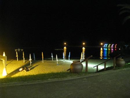 夜の海岸で遊びます