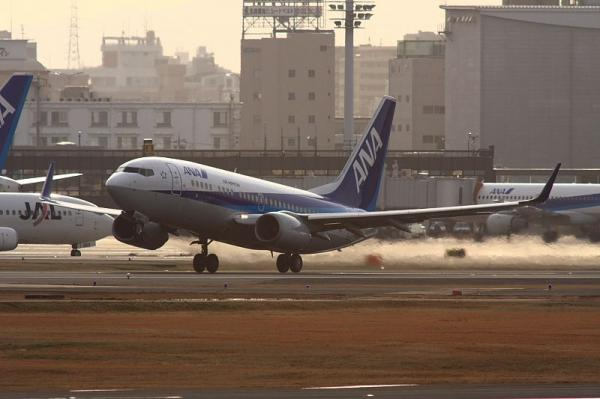 ANA B737-781 NH521@RWY14Rエンド(by 40D with SIGMA300/2.8EX+APO TELE 2x)