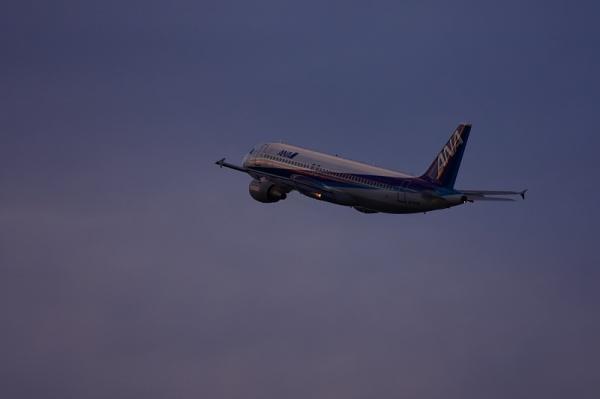 ANA A320 NH557@猪名川土手(by 40D with EF100-400)