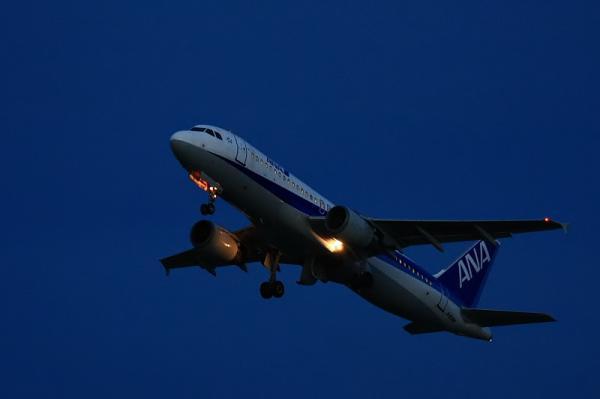 ANA A320 NH527@猪名川土手(by 40D with EF100-400)