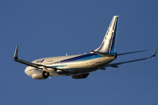 ANA B737-781 NH519@RWY14Rエンド(by 40D with SIGMA300/2.8EX+APO TCx2)