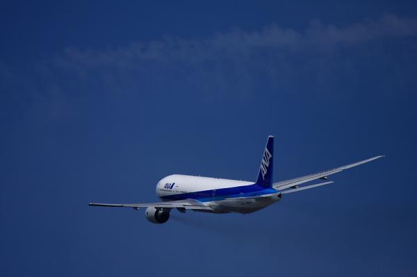 ANA B777-246 NH26@猪名川土手(by 40D with EF100-400)