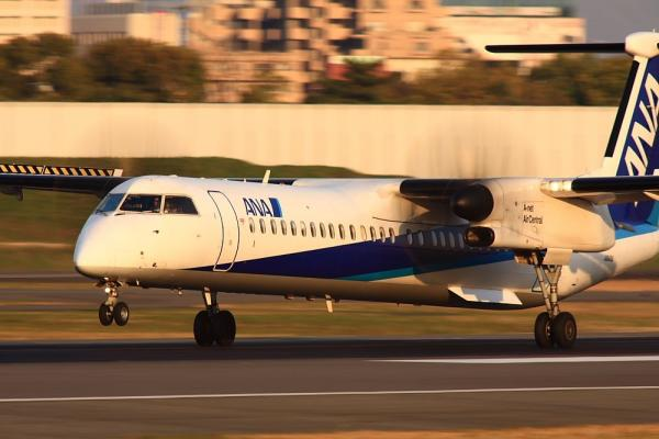 ANA DHC8-Q400 NH1639@伊丹スカイパーク(by 40D with SIGMA300/2.8EX+APO TC2x)
