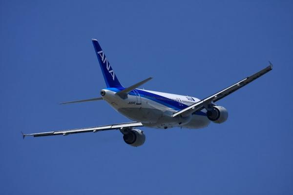 ANA A320-211 NH503@下河原緑地公園(by 40D with EF100-400L)