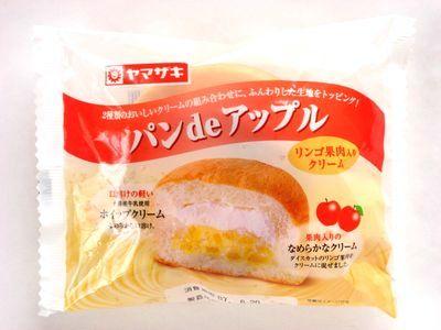 ヤマザキ--パンdeアップル リンゴ果肉入りクリーム。